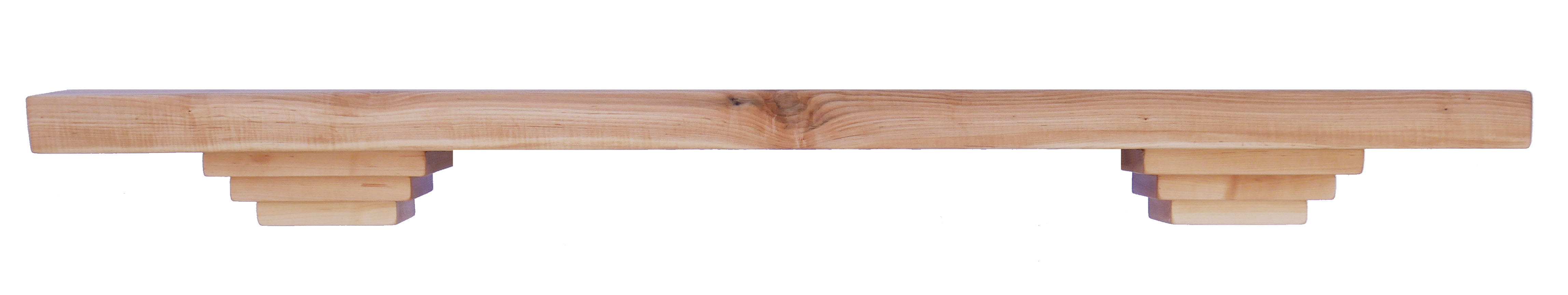 Figured maple wood fireplace mantel